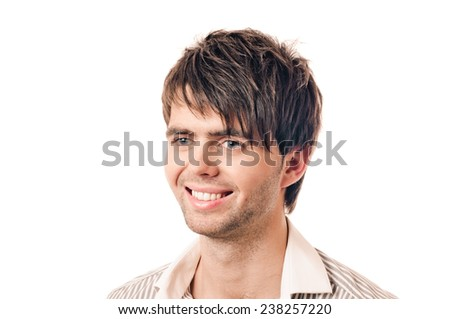 young casual man portrait with smile on white background