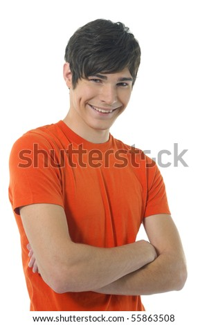 Young Casual man posing, isolated in white - stock photo
