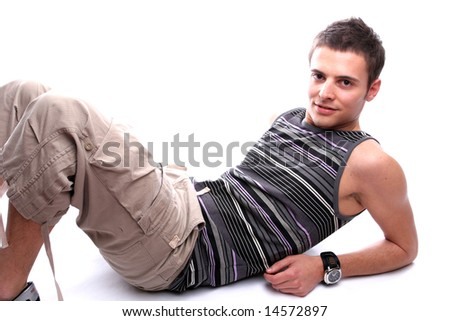 Young casual man, posing - isolated in white background