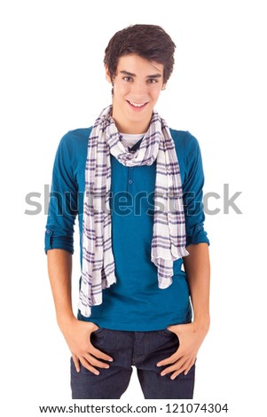 Young casual man posing isolated over white - stock photo