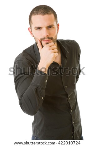 young casual man thinking, isolated on white