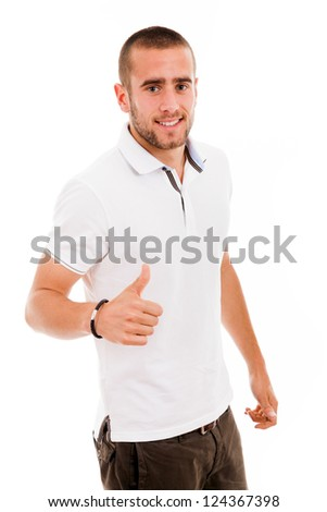 young casual man thumb up in a white background - stock photo