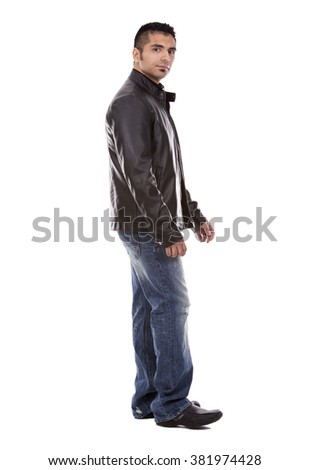 young casual man wearing black jacket on white background