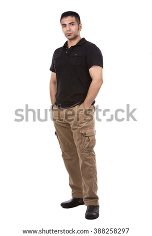 young casual man wearing black tshirt on white background