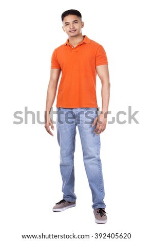 young casual man wearing orange tshirt on white isolated background