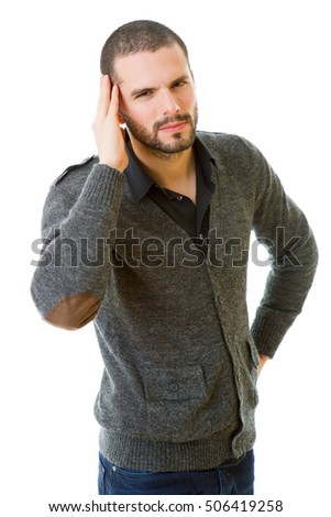 young casual man with a headache, isolated on white