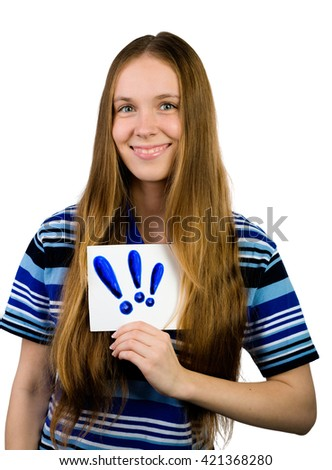 Young casual professional businesswoman showing white sign with exclamation mark. Portrait of young professional caucasian female model isolated on white background. - stock photo