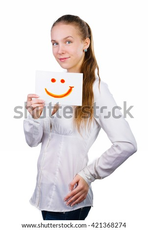 Young casual professional businesswoman showing white sign with smile symbol. Portrait of young professional caucasian female model isolated on white background. - stock photo