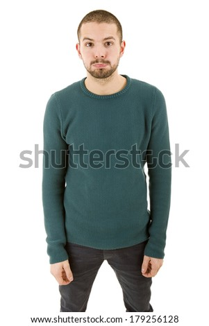 young casual silly man, isolated on white - stock photo