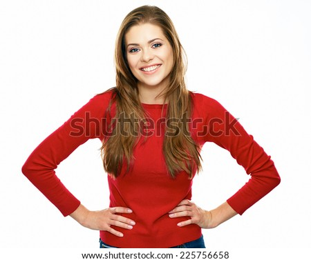 young casual style dressed in red woman posing against white background.  - stock photo