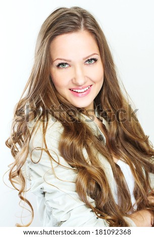 Young casual style woman portrait isolated over white background - stock photo