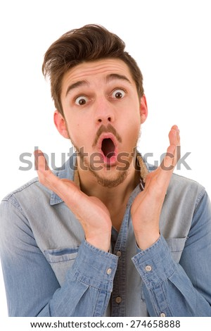 young casual surprised man portrait in a white background - stock photo