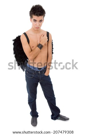 young casual teen man with wings, on white - stock photo