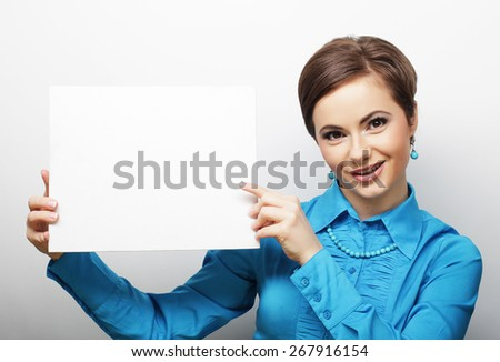 young casual woman happy holding blank sign, happy time - stock photo