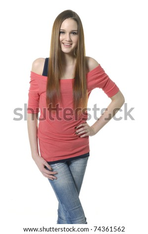 Young casual woman in blue jeans - stock photo