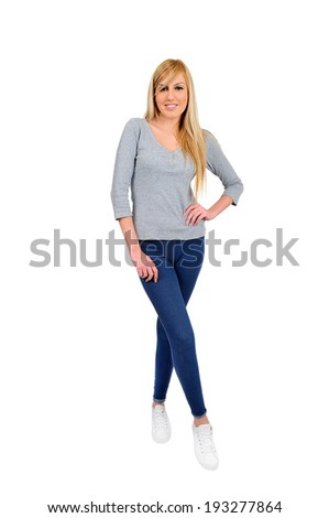 young casual woman on white