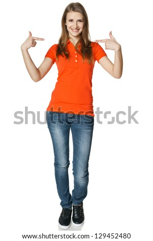 Young casual woman pointing at herself cheering happy standing in full length, isolated on white background - stock photo