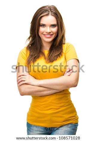 Young casual woman portrait isolated on white background. Yellow dressed. Happy girl