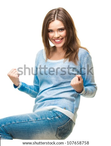 Young casual woman portrait with toothy smile isolated on white background. Blue dressed - stock photo