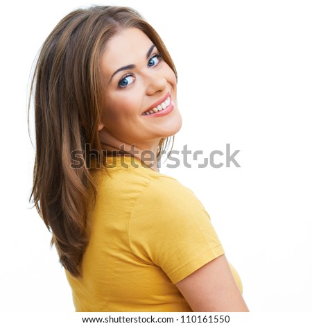 Young casual woman style isolated over white background. Close up portrait - stock photo