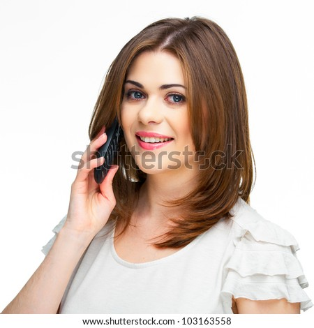 Young casual woman style isolated over white background. studio close up  portrait, using mobile phone - stock photo