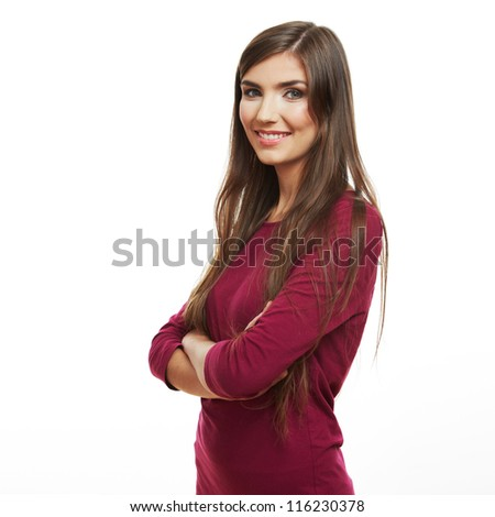 Young casual woman style isolated over white background. studio portrait female mode with long hair. Beautiful smiling happy girl. - stock photo