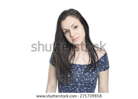 Young casual woman style isolated over white background. studio portrait female model.
