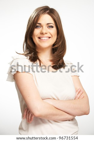 Young casual woman style portrait with toothy smile i - stock photo