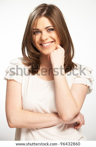 Young casual woman style portrait with toothy smile isolated over white background. - stock photo