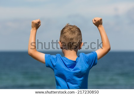 Young caucasian boy in Denmark on a summer day. - stock photo