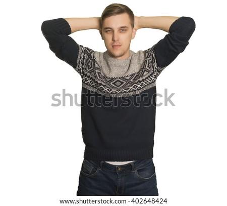 Young caucasian boy touching his head - stock photo