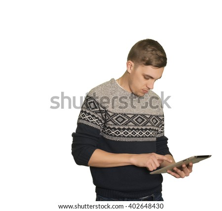 Young caucasian boy with a tablet - stock photo