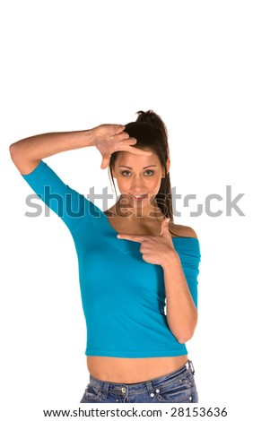 young caucasian brunette,isolated on white wearing casual clothes,framing the face with hands