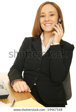 young caucasian business woman calling on the phone and smile - stock photo