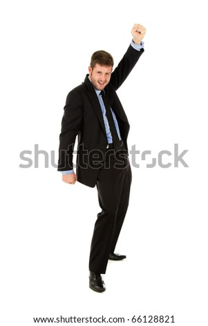 Young caucasian businessman, cheerful man winner who is celebrating his victory. Studio shot. White background.