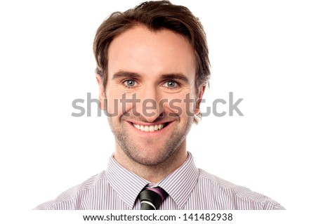 Young caucasian businessman isolated over white - stock photo