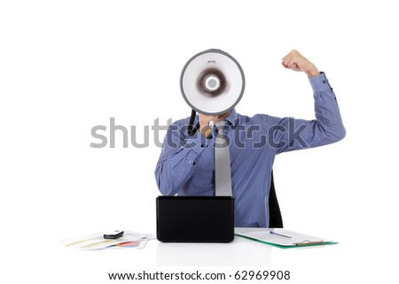 Young caucasian businessman with a megaphone in front face, clench fist as success symbol. Studio shot. White background. - stock photo