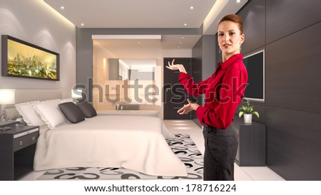 young caucasian businesswoman in a 3d rendered hotel - stock photo