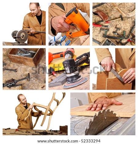 young caucasian carpenter at work detail image - stock photo
