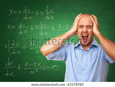 young caucasian desperate teacher and 3d classroom background - stock photo