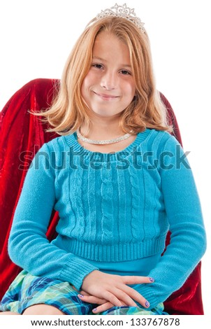 Young caucasian female child princess - stock photo