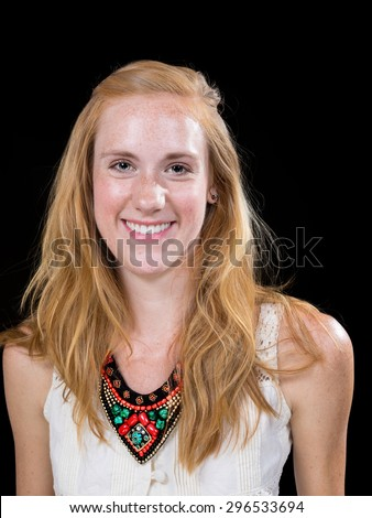 Young caucasian female expression portrait isolated on black background
