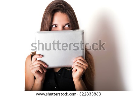 young caucasian female using tablet isolated on white