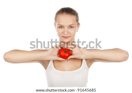 young caucasian girl with tomato, attractive girl with ripe tomato, isolated on white,portrait of girl hold in hand ripe tomato,isolated