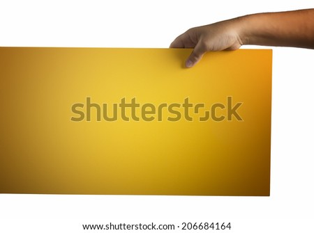 Young caucasian hand holding from top a deep gradient yellow orange plywood square blank signboard isolated on white background. There are no elements to distract viewer from looking at the sign - stock photo