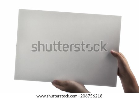Young caucasian hands holding a light white plastic laminate square blank signboard isolated on white background. There are no elements to distract viewer from reading any  message written on the sign - stock photo