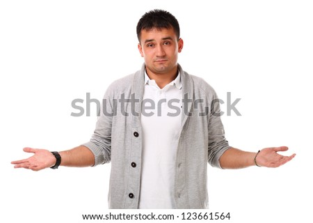 Young caucasian handsome man confused isolated over white background