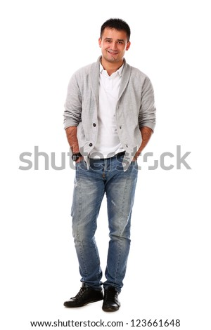 Young caucasian handsome man isolated over white background