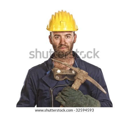 young caucasian labourer tired from hard day work