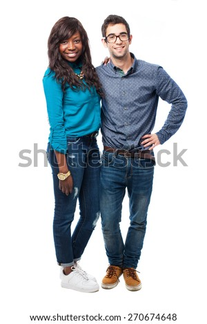 young caucasian man and african woman full body - stock photo